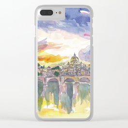 Rome Italy Vatican San Pietro in the Evening Glory Clear iPhone Case