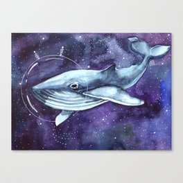 watercolor illustration of a whale in a spacesuit in space Canvas Print