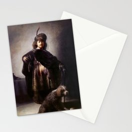 Rembrandt - Self-portrait in oriental attire with poodle Stationery Cards