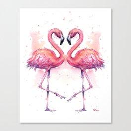 Flamingo Watercolor Two Flamingos in Love Canvas Print