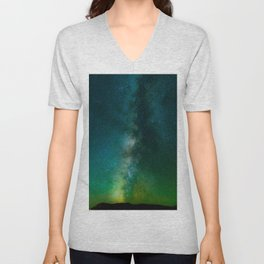 Green & Turquoise Milky Way Galaxy Star Night Sky Unisex V-Neck