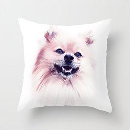 The Smiling Pomeranian Throw Pillow
