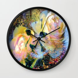 Baby Cheetah In Woods With Roses By Annie Zeno  Wall Clock