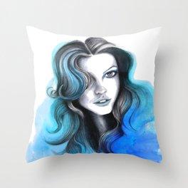 Aqua and Dark Blue Flame Hair Throw Pillow