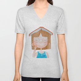Smiling little cute girl with eyeglasses, and red book on her head. Watercolor illustration. Unisex V-Neck