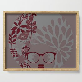 Afro Diva : Burgundy Sophisticated Lady  Serving Tray