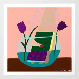 Cleaning the vase Art Print