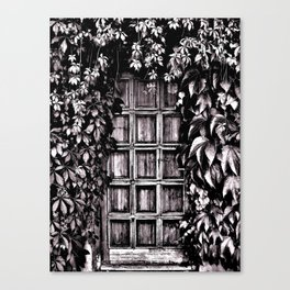 Black White Old Door Canvas Print