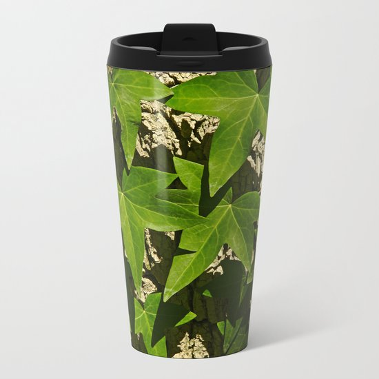 Sunny ivy leafs on a tree bark Metal Travel Mug