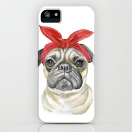 Pug with a Red Bandana Watercolor iPhone Case