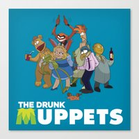 muppets Canvas Prints featuring Drunk Muppets by Jared Gase