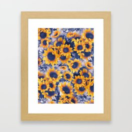 Sunflowers Blue Framed Art Print