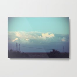 Clouds Over Power Lines Metal Print