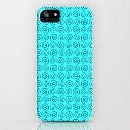Classic Blue Swirls Boho Vibe Cyan Pattern iPhone Case