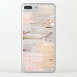 Golden Pink Birds Clear iPhone Case