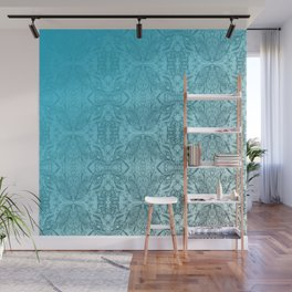 Blue Gradient Floral Doodle Pattern Wall Mural