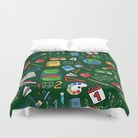backpack Duvet Covers featuring Back to school by Julia Badeeva