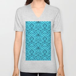 Neon abstract  black -blue Unisex V-Neck