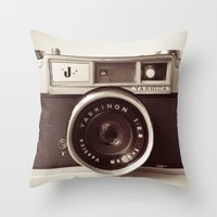 carpe Throw Pillows featuring Camera by Tuky Waingan