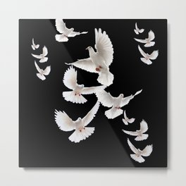 WHITE PEACE DOVES ON BLACK COLOR DESIGN ART Metal Print