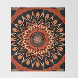 Boho Chic Rustic Orange Mandala Throw Blanket