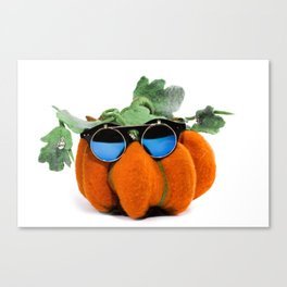 Pumpkin handmade from felted wool in glasses for celebration of Halloween Canvas Print