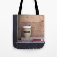 cigarettes Tote Bags featuring Cigarettes and coffee by RMK Creative