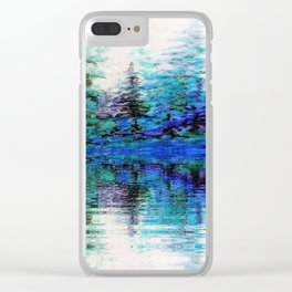 SCENIC BLUE MOUNTAIN PINES LAKE REFLECTION Clear iPhone Case