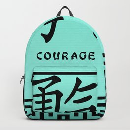 """Symbol """"Courage"""" in Green Chinese Calligraphy Backpack"""