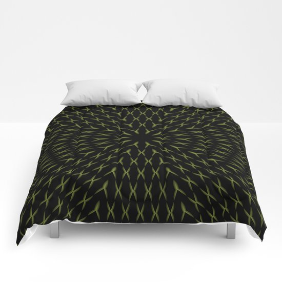 PCT2 Fractal in Yellow on Black Comforters