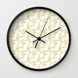 Modern pastel green orange fruit pasta abstract pattern Wall Clock