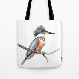Kingfisher Bird Watercolor Illustration Tote Bag
