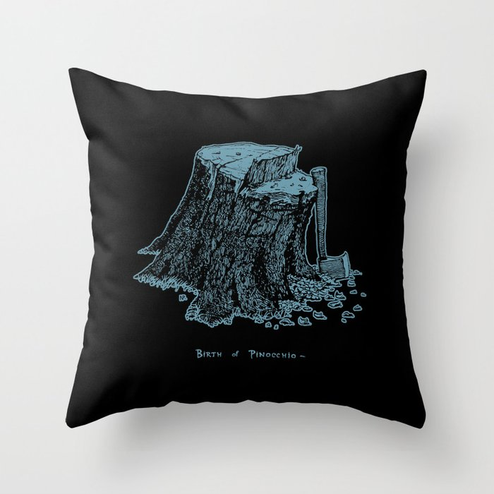 Birth of Pinocchio (black version) Throw Pillow