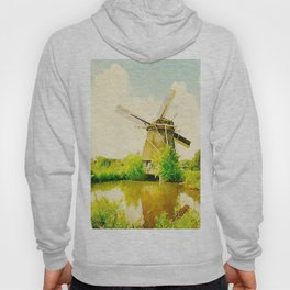 watercolor illustration amsterdam mill house Hoody