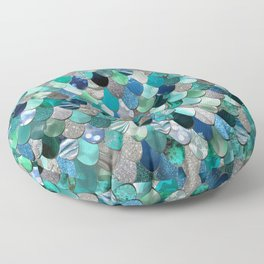 Mermaid Scales, Teal, Green, Aqua, Blue Floor Pillow