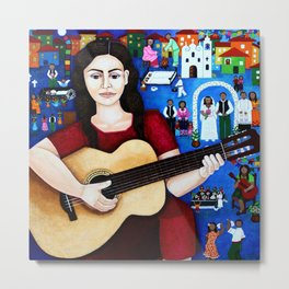 Violeta Parra and her guitar Metal Print