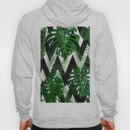 Geometrical green black white tropical monster leaves Hoody