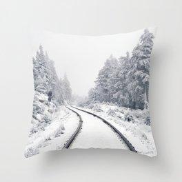 Snowy Train Tracks (Color) Throw Pillow