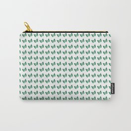 Elegant little light and dark green butterflies pattern on a white background Carry-All Pouch