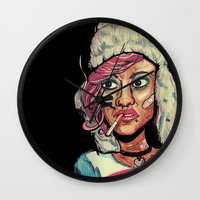 tank girl Wall Clocks featuring Tank Girl by N3RDS+INK