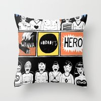 superheroes Throw Pillows featuring Superheroes SF by WASTED RITA