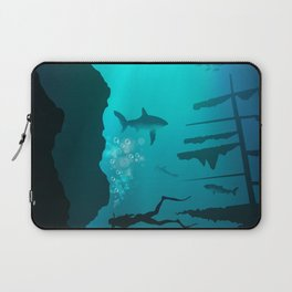 Beautiful coral reef and silhouettes of diver and school of fish in a blue sea Laptop Sleeve