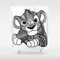 simba Shower Curtains featuring Zentangle Simba by ElFineLines