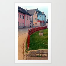 Fancy fence and little village houses | architectural photography Art Print