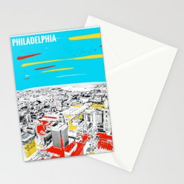 Philadelphia View From Observation Deck Paint on Photo Stationery Cards