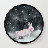 rabbit Wall Clocks featuring White Rabbit by Ben Geiger