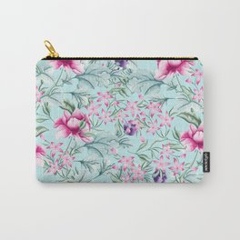 Floral Pattern Mint Carry-All Pouch
