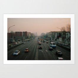 Beijing traffic, China Art Print