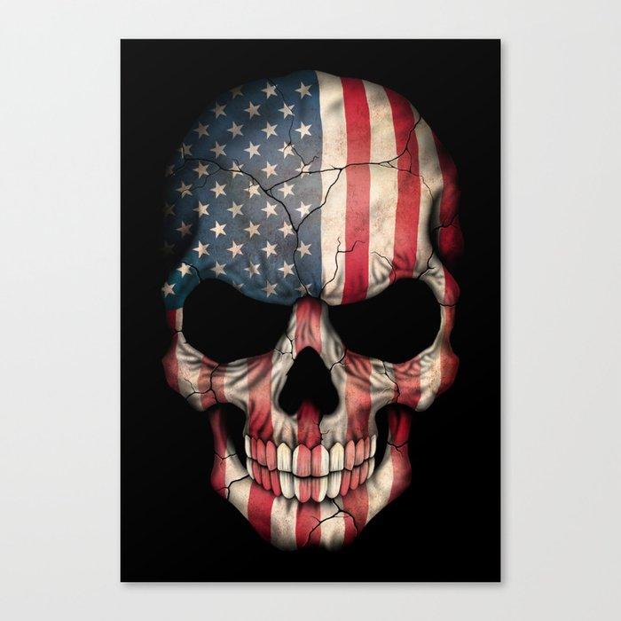 American Flag Skull on Black Canvas Print