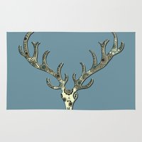 antlers Area & Throw Rugs featuring Antlers by Rachel Russell
